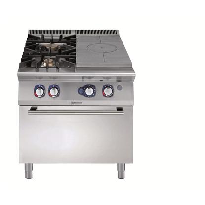 Modüler Pişirme Ekipmanları900XP Gazlı Kapalı Ateş Kuzine+2 Açık Ateş Ocak, Gazlı Fırınlı