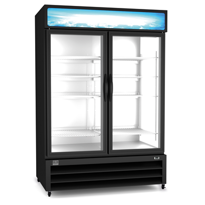 Refrigeration Equipment<br>Merchandiser Freezer, 49 cu.ft, 2 Glass Door, black (R290)