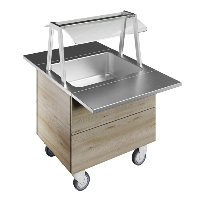 Idea<br>Bain-marie, one well (2GN) with wheels H=750mm, overshelf with LED lights