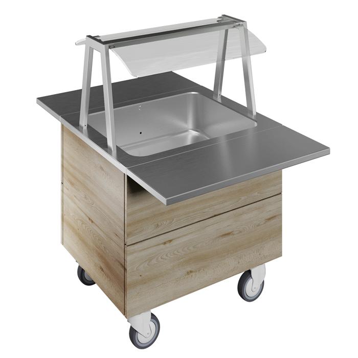 Idea<br>Vasca refrigerata su base armadiata, statica, per 2 bacinelle GN con ruote, luci LED, H=750mm