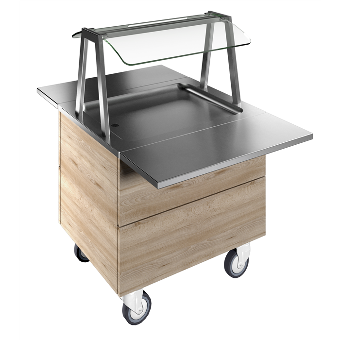 Idea<br>Refrigerated stainless steel surface on cupboard (2GN) with wheels, overshelf with LED lights, H=750