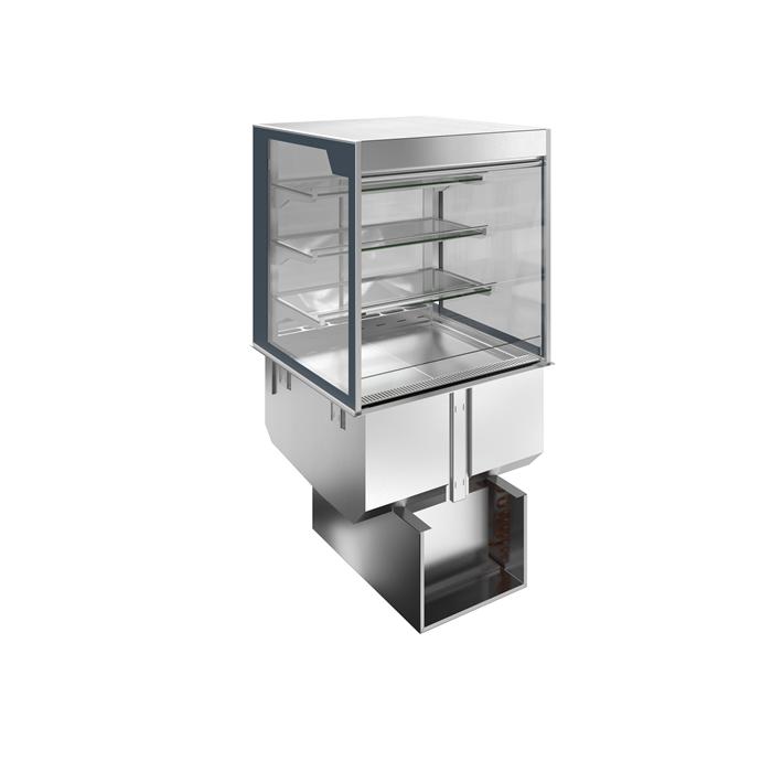 Drop-in<br>Vasca refrigerata da incasso con vetrina refrigerata squadrata, per servizio 4 ore, 2 GN