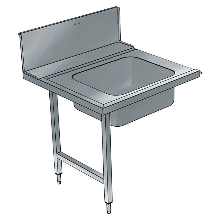 Movimentazione Stoviglie<br>Tavolo prelavaggio con vasca sinistra, 900 mm per lavaoggetti industriale passante